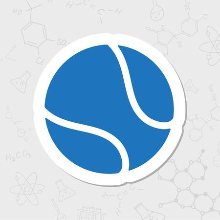 tennisball: Vector flat sticker tennis ball icon on white background