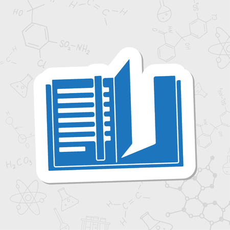 periodicals: Vector flat sticker notebook icon on white background