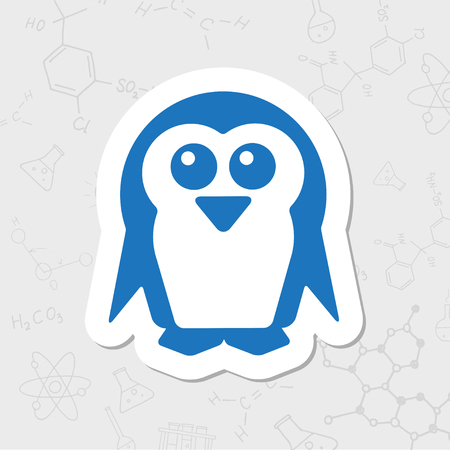 flightless: Vector flat sticker penguin icon on white background