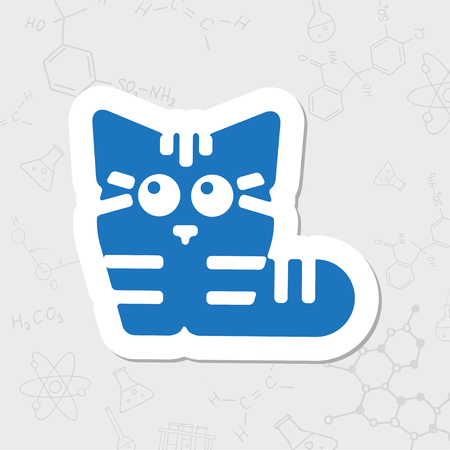 Vector flat sticker cat icon on white background