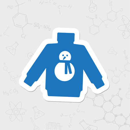 Vector christmas icon. New year illustration. flat sticker Pullover with snowman on white background