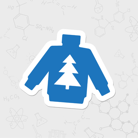 Vector christmas icon. New year illustration. flat sticker Pullover with christmas tree on white background