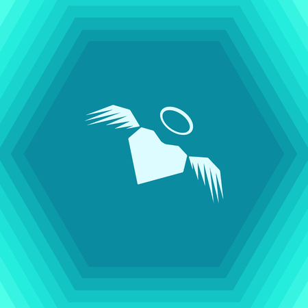 Vector flat heart with wings icon on hexagonal background Illustration