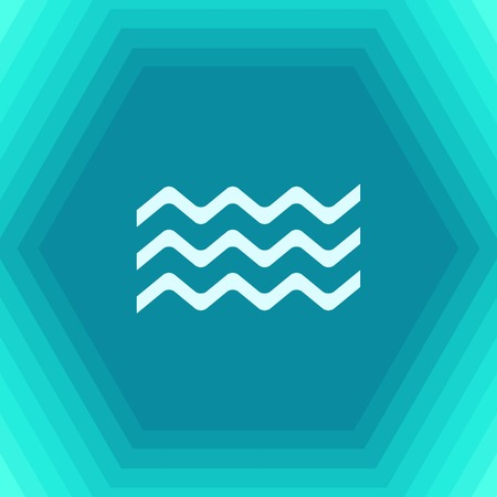 oceanic: Vector flat waves icon on hexagonal background