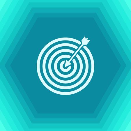 Vector flat target icon on hexagonal background