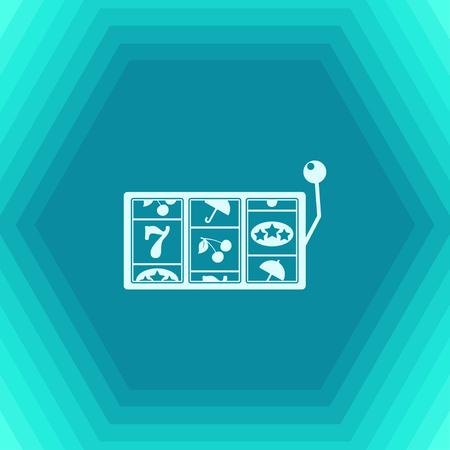 Vector icono de ranura plana en fondo hexagonal. Icono de Casino
