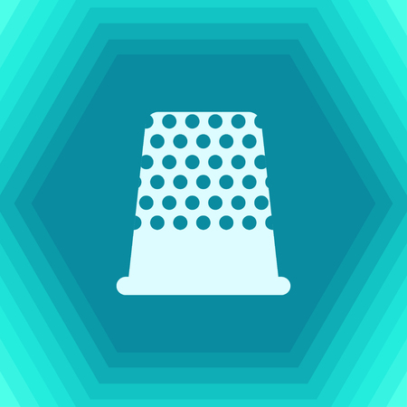 old items: Vector flat tailor thimble for finger icon on hexagonal background