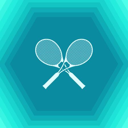 Vector flat tennis rackets icon on hexagonal background