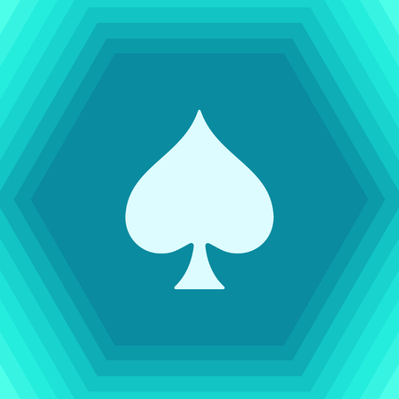 Vector flat game spade icon on hexagonal background
