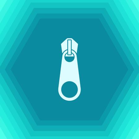 Vector flat tailor zipper icon on hexagonal background Illustration
