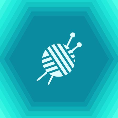 Vector flat tailor ravel ball of yarn for knitting icon on hexagonal background Illustration