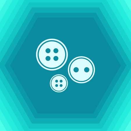 old items: Vector flat tailor button icon on hexagonal background Illustration