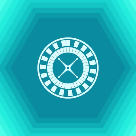 wheel of fortune: Vector flat casino roulette wheel icon on hexagonal background
