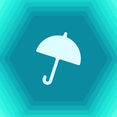 Vector flat umbrella icon on hexagonal background Illustration