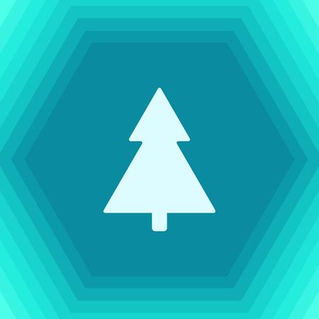 giftware: Vector flat christmas tree icon on hexagonal background Illustration