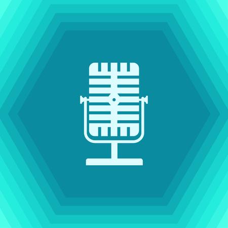 entertaining presentation: Vector flat retro microphone icon on hexagonal background