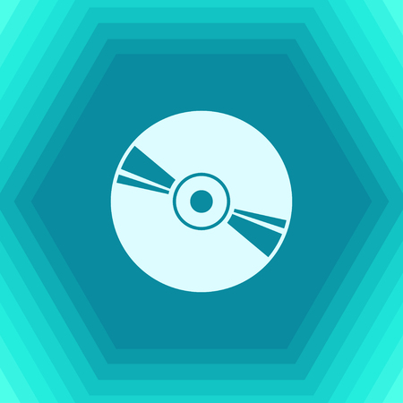 Vector flat compact disc icon on hexagonal background
