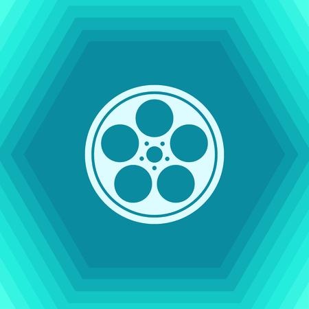 Vector flat retro bobbin icon on hexagonal background