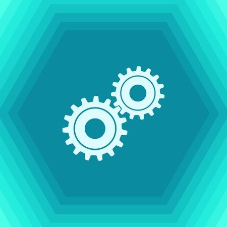 Vector flat two cogwheels icon on hexagonal background