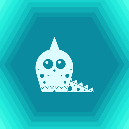 Vector flat dinosaur lizard icon on hexagonal background