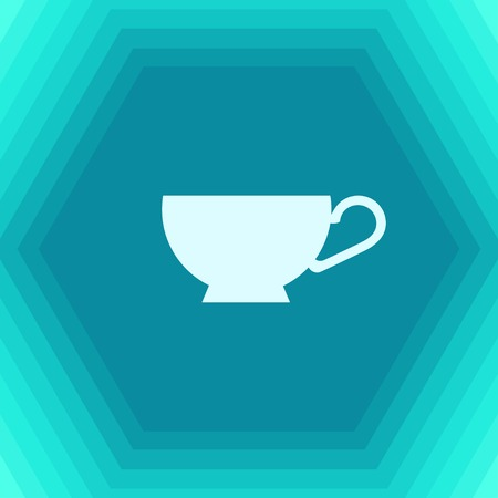 Vector flat cup for tea or coffee icon on hexagonal background Illustration