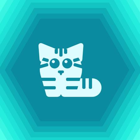 Vector flat cat icon on hexagonal background