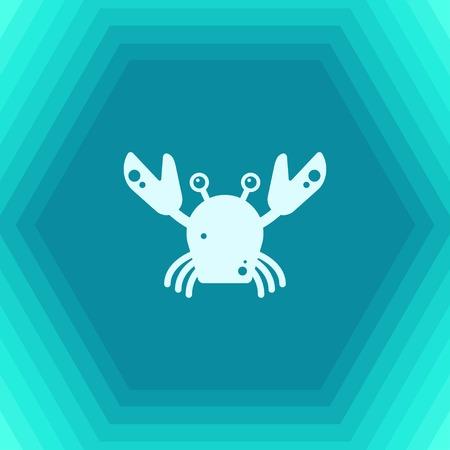 Vector flat crab icon on hexagonal background Illustration