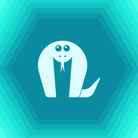 Vector flat cobra icon on hexagonal background