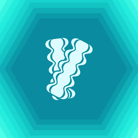 browned: Vector flat bacon icon on hexagonal background Illustration