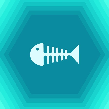 dead fish: Vector flat fishbone icon on hexagonal background