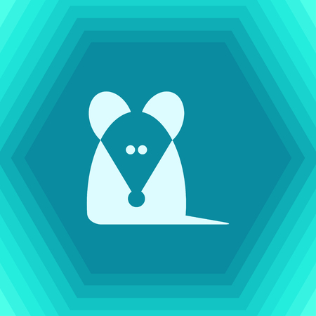Vector flat rat or mouse icon on hexagonal background Illustration