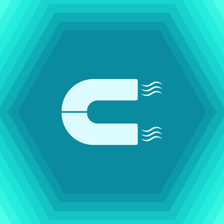 Vector flat magnet icon on hexagonal background Illustration