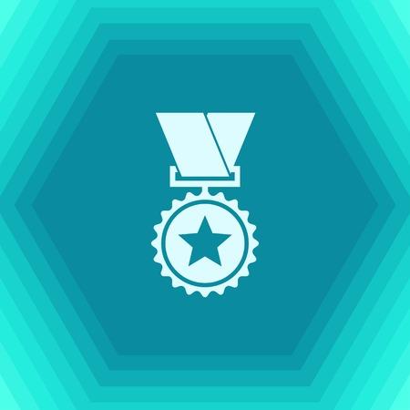 Vector 1 medal icon on hexagonal background . Winner award