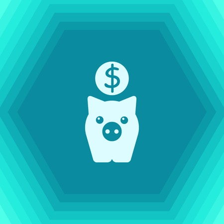 Vector flat pig moneybox icon on hexagonal background. Business collection