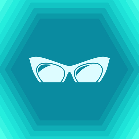 Vector flat Glasses Icon on hexagonal background. Color flat style. Fashion illustration