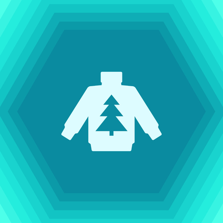 Vector christmas icon. New year illustration. flat Pullover with christmas tree on hexagonal background Illustration