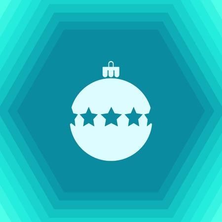 Vector christmas icon. New year illustration. flat Christmas tree on hexagonal background
