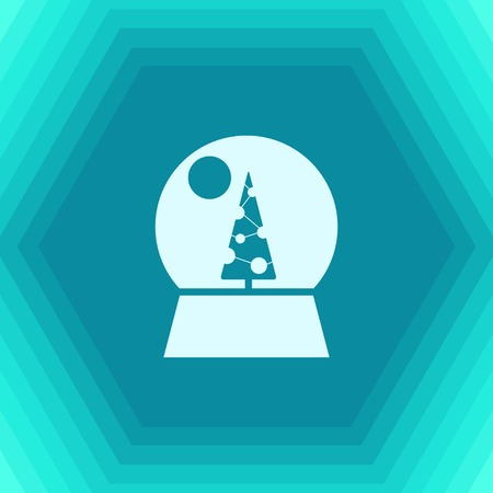 Vector christmas icon. New year illustration. flat Snow globe on hexagonal background Illustration