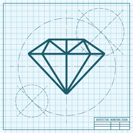 A Vector blueprint diamond icon on engineer and architect background.