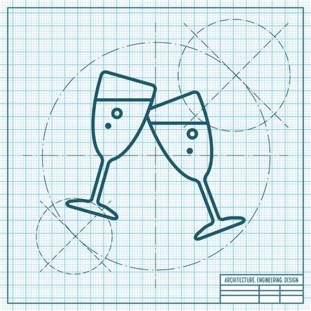 champagne celebration: Vector stemware icon