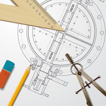 Vector technical blueprint of mechanism. Engineer illustration Illustration