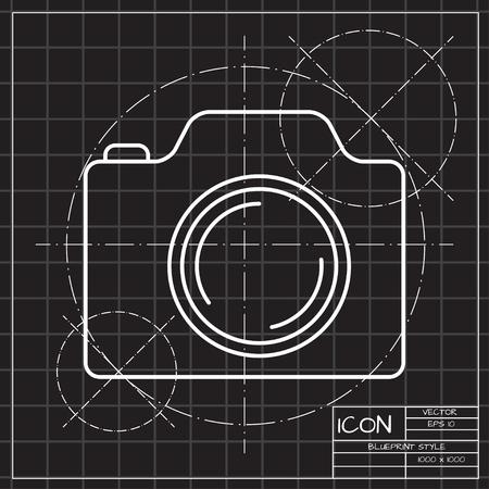 photo camera vector icon blueprint style flat