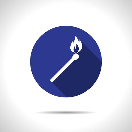 burning match illustration. fire black icon Illustration