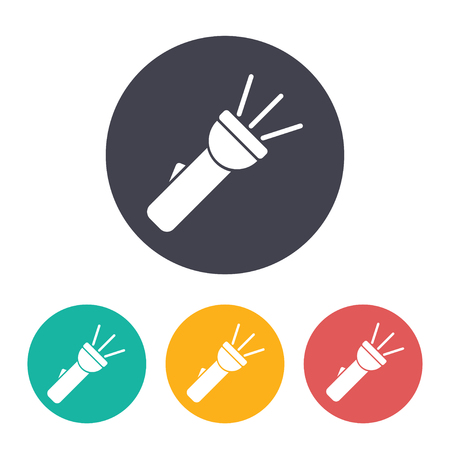 Eingeschaltete Taschenlampenabbildung. Suche nach flachen Vektorsymbolen