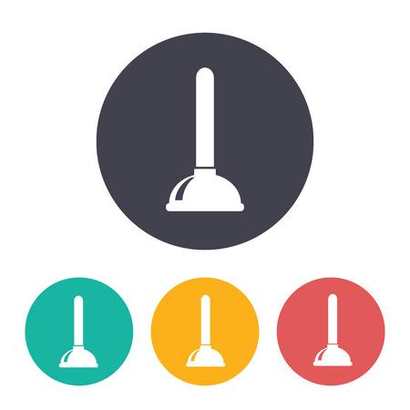 Toilet plunger illustration. Plumber vector icon
