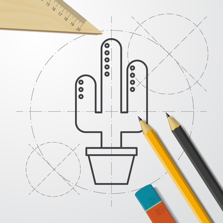 Cactus in flower pot illustration. Household vector icon