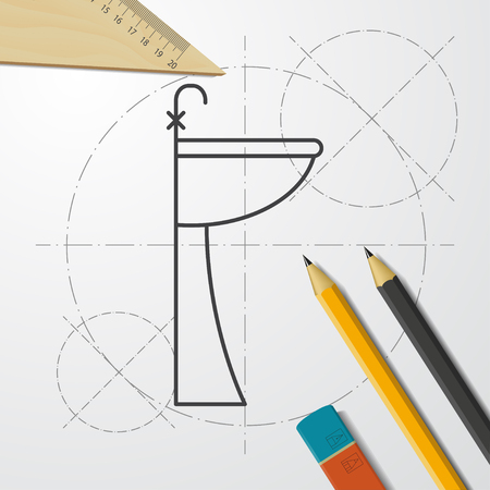 Sink with faucet illustration. Bathroom vector icon Stock Vector - 124170722