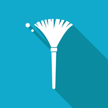 simple feather duster illustration. Cleaning vector icon