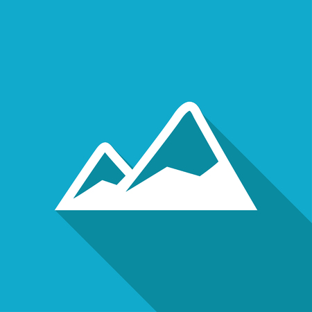 Two mountains covered with snow illustration. Nature vector icon