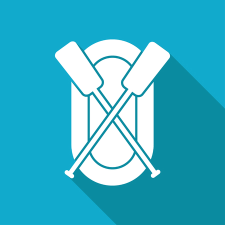rafting infatable boat with oars illustration. Sport vector icon Banco de Imagens - 125331758